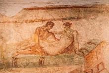 """Постер, картина, фотообои """"Pompeii, Italy. Fresco Sex Scene On Wall Of Lupanar Of Pompeii"""""""