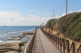 Wooden footbridge on a seafront