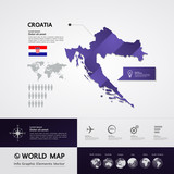 Croatia map vector illustration.
