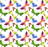 Watercolor seamless pattern made of butterflies and apple cores Isolated on white. Natural fabric print design.