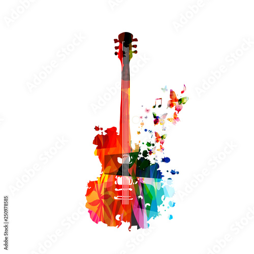 Colorful guitar with music notes isolated vector illustration design. Music background. Music instrument poster with music notes, festival poster, live concert events, party flyer © abstract