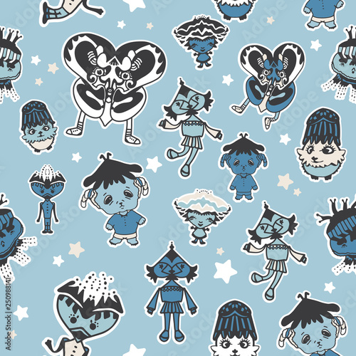 mata magnetyczna Cartoon seamless pattern with cute creatures. Vector illustration for kids. Use for print design, surface design, fashion kids wear