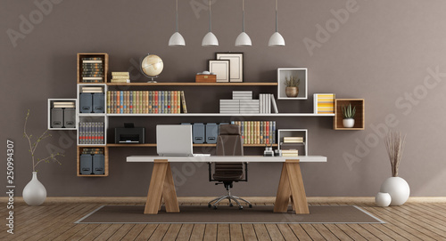 obraz lub plakat Modern office with wooden furniture