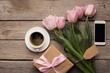 Womens day morning - tulips, present and coffee