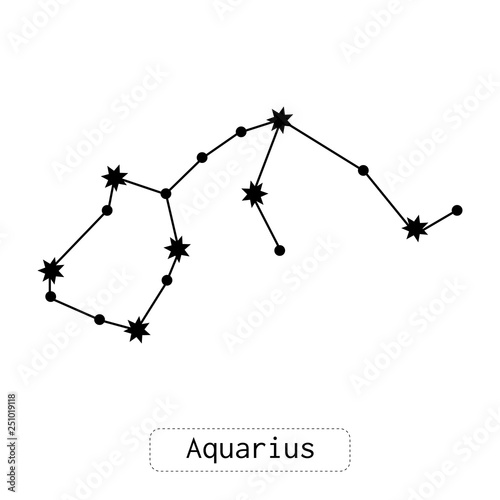 Aquarius constellation. Horoscope, zodiac sign. Predictions and divination. Flat illustration or object. Vector © Elenapro