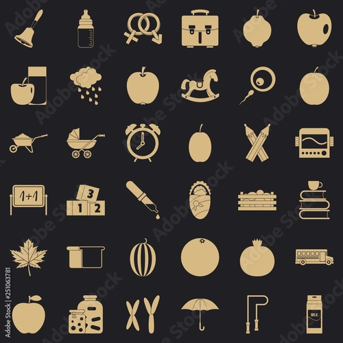Preschool icons set. Simple style of 36 preschool vector icons for web for any design