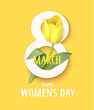 Happy Womens day. 8 march symbol with yellow tulip. Vector illustration