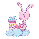 cute little rabbit with giftbox character