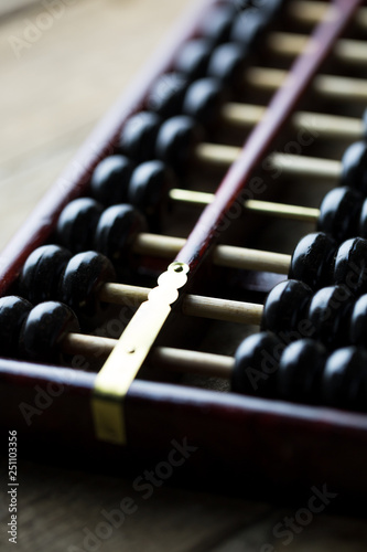 The abacus on wooden table - 251103356