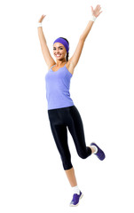 happy smiling woman jumping or doing fitness aerobics exercise, isolated © vgstudio