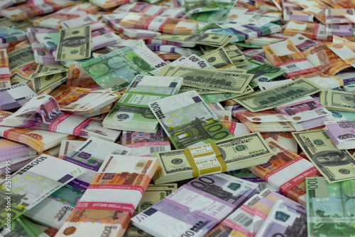 Abstract background with fake banknotes of money from different countries. - 251119995