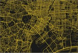 Black and yellow vector city map of Tokyo with well organized separated layers.
