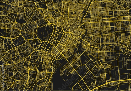 obraz lub plakat Black and yellow vector city map of Tokyo with well organized separated layers.
