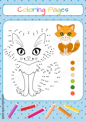 Numbers game, education dot to dot game for children. Funny little cat. Coloring book. Cartoon vector illustration