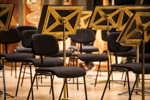 Orchestra empty seats on a stage - 251136713