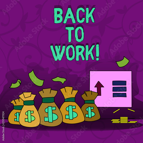 Conceptual hand writing showing Back To Work. Business photo showcasing Returning to job routine end of vacations or time off