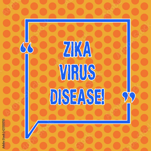 Writing note showing Zika Virus Disease. Business photo showcasing transmitted primarily Aedes mosquitoes which bite Round Punch Holes Small Color Circles in Seamless Repeat Pattern - 251151710
