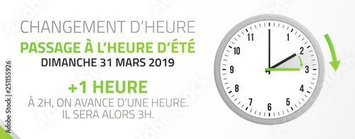 changement d'heure - passage à l'heure d'été - 31 mars 2019