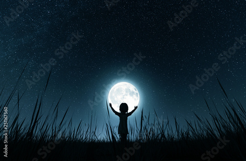 Girl holding the moon in starry night,3d rendering