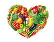 Heart shape by various vegetables and fruits. Healthy food concept - 251170572