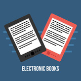 Vector flat design illustration with two electronic books, e-books. - 251172542