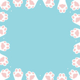 Vector cartoon style card template, frame, border or background with cat, kitty paws and dots. - 251172576