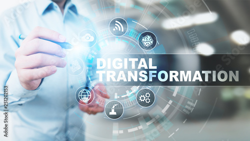 Leinwanddruck Bild Digital transformation, disruption, innovation. Business and  modern technology concept.