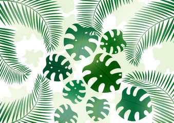 Bright tropical background with monster leaves and palm branches for your design. Invitation to a party in an exotic style. - Vector graphics