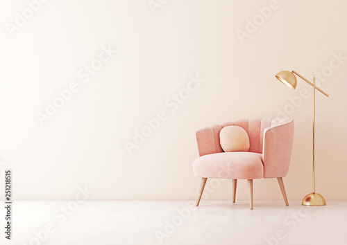 Living room interior wall mock up with pastel coral pink armchair, round pillow and lamp on empty beige wall background. 3D rendering.