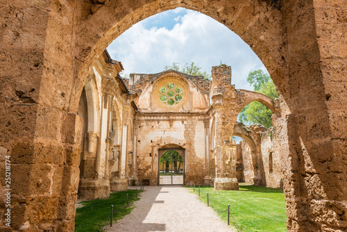 Leinwandbild Motiv Ruins of the church of the Monastery of Piedra