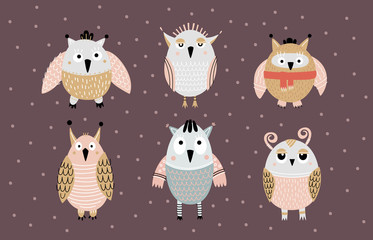 A set of funny fairy owls of different shapes. Can be used for children's interior decoration, fabrics, design. Vector illustration.