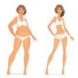 woman before and after diet vector illustration