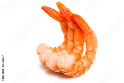 Leinwanddruck Bild boiled shrimp isolated