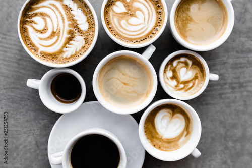 Aerial view of various coffee - 251254753