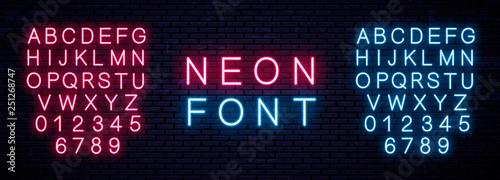 Realistic Neon English Alphabet. Vector Illustration - 251268747
