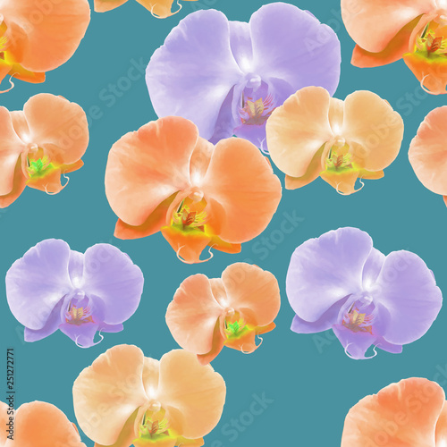 Orchid, Phalaenopsis. Seamless pattern texture of flowers. Floral background, photo collage © svrid79