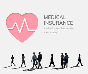 Medical insurance logo with silhouette people