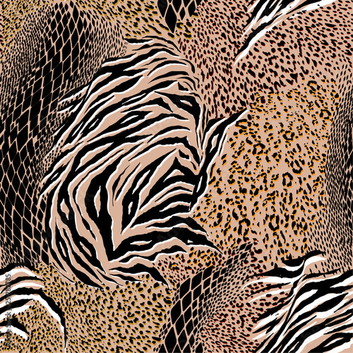 31eee27caf78 Trendy Mixed animal skin,tiger,zebra,leopard,snake, background. Seamless