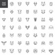 Animals head line icons set. linear style symbols collection, outline signs pack. vector graphics. Set includes icons as wild tiger, lion, monkey, elephant front view, zoo horse, farm goat, cat