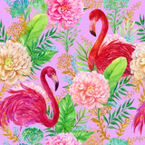 Seamless pattern, tropics, pink flamingos, gold, watercolor illustration for printing on fabric