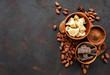 Leinwandbild Motiv Cocoa beans, butter and chocolate