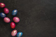 Background with painted colorful Easter eggs with golden spots