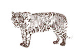 Abstract Tiger. Vector illustration. Pointillism style.