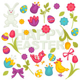 Happy Easter holiday greeting card bunny and eggs