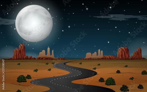 Desert scene at night - 251308547