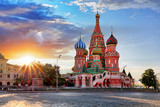 Sunny autumn morning at St. Basil's Cathedral on Red Square, Moscow, Russia