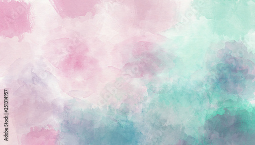 Pink blue watercolor background - 251314957