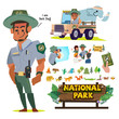 National Park Service employees or staff, Forest officer character set. job and career in national park concept - vector