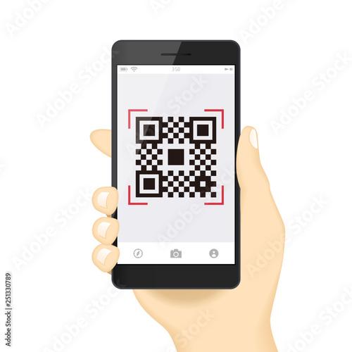スマホ決済qrアプリのスマートフォンを持つ手イメージイラスト素材 Buy