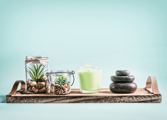 SPA, calmness and releasing stress concept background with green candles, Zen stones and succulent plants on tray at pastel blue background . Healthy lifestyle and wellness concept © VICUSCHKA